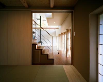 和室  ゲストルーム (【山に向かう家】  山へと心が誘われる、暖炉のある家)