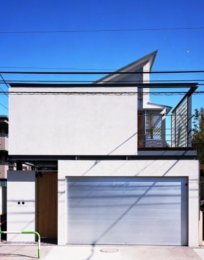 【本駒込の家】 短冊敷地を生かす中庭とデッキ (外観)