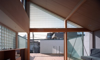 【本駒込の家】 短冊敷地を生かす中庭とデッキ (リビングからテラスを眺める)