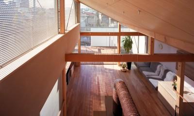 【本駒込の家】 短冊敷地を生かす中庭とデッキ (ロフトからリビングを眺める)