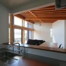 【Trilogy−北の家】 3つの分譲宅地で1つの世界をつくるの写真 キッチンからリビングダイニングを眺める