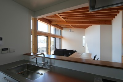 キッチンからリビングダイニングを眺める (【Trilogy−北の家】 3つの分譲宅地で1つの世界をつくる)
