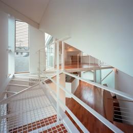 【トライアングル・ハウス】 空間に変化を生み出す三角形平面 (リビング・吹抜)
