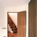 【トライアングル・ハウス】 空間に変化を生み出す三角形平面の写真 階段