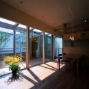 【光渓の家】  家の中央を貫く光の写真 リビングダイニング・テラス