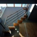 【光渓の家】  家の中央を貫く光の写真 階段