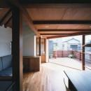 【市川の家】 光を求めて空へとのびるOMソーラーの家の写真 リビングからテラスを眺める