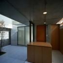 【宙空のコートハウス】 壁に囲まれたプライバシー完全な家の写真 玄関