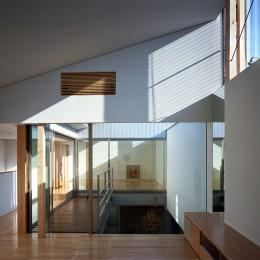 【宙空のコートハウス】 壁に囲まれたプライバシー完全な家 (リビングから中庭を眺める)