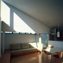 【宙空のコートハウス】 壁に囲まれたプライバシー完全な家の写真 リビングダイニング