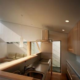 【宙空のコートハウス】 壁に囲まれたプライバシー完全な家 (キッチン)