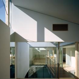 【宙空のコートハウス】 壁に囲まれたプライバシー完全な家 (予備室から中庭を見る)