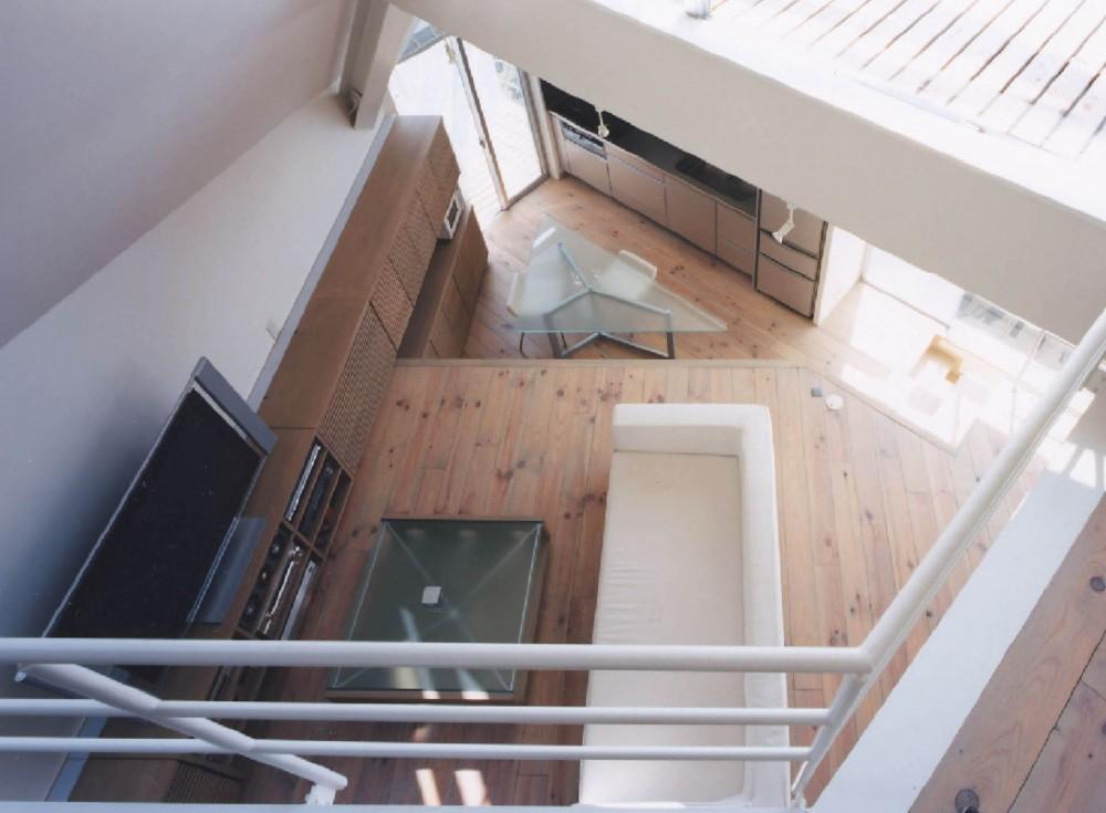 狭小傾斜変形地を生かした家 (書斎よりリビングダイニングを見下ろします。)