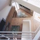 狭小傾斜変形地を生かした家の写真 書斎よりリビングダイニングを見下ろします。