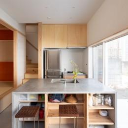 椿庵 ― 茶室のある旗竿敷地の住宅 ― (土間(内路地)に設えたキッチンカウンター)