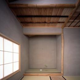 椿庵 ― 茶室のある旗竿敷地の住宅 ― (椿の木の肌色に合わせた茶室)