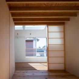 椿庵 ― 茶室のある旗竿敷地の住宅 ― (障子越しにサンルームと繋がる寝室)