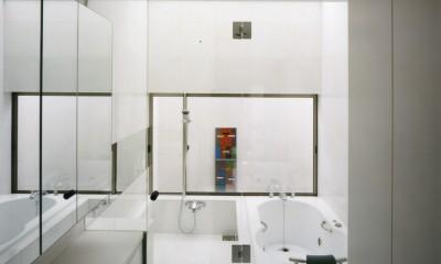 【自由が丘の家】  宙に浮いたテラスが特徴の住宅 (浴室・洗面)