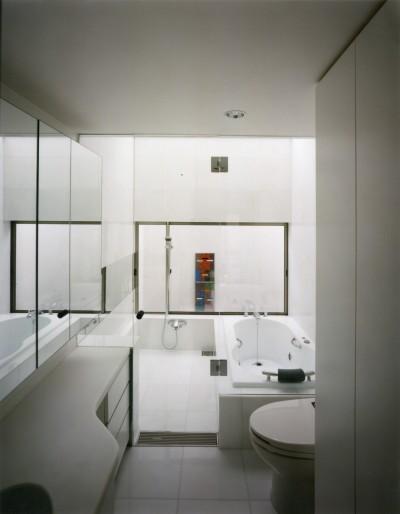 浴室・洗面 (【自由が丘の家】  宙に浮いたテラスが特徴の住宅)