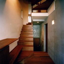 【登り梁の家】   都会の狭小地に建つ山小屋 (玄関・階段)
