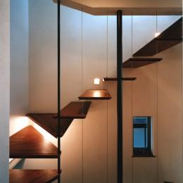 【登り梁の家】   都会の狭小地に建つ山小屋 (階段)