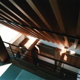 【登り梁の家】   都会の狭小地に建つ山小屋 (和室(吹抜)からリビングを眺める)