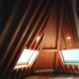 【登り梁の家】   都会の狭小地に立つ山小屋
