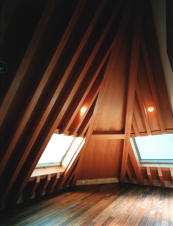 【登り梁の家】   都会の狭小地に建つ山小屋 (ロフト)