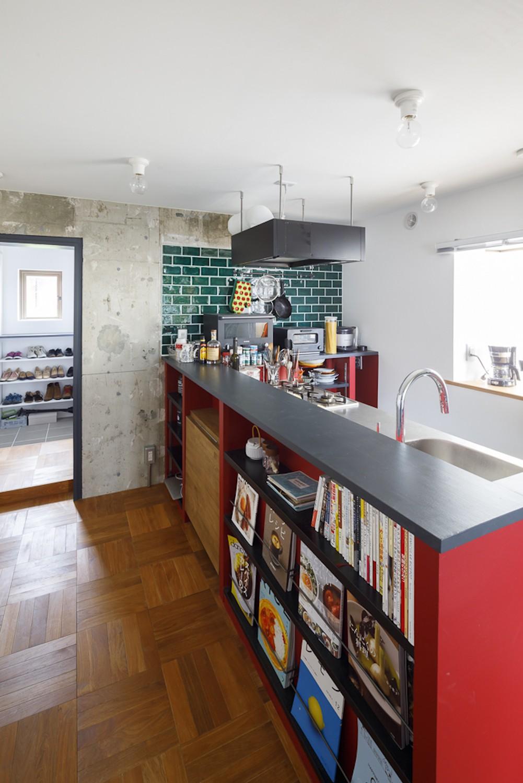 キッチン事例:キッチン(七味—制約のある物件で実現した、やりたいことがギュッと詰まった暮らし)