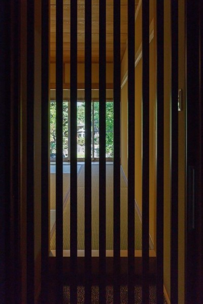 格子から覗く日本庭園 (住道の家)