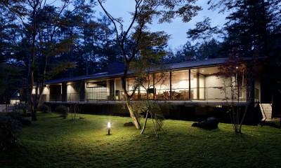 061軽井沢Hさんの家 (外観夕景)