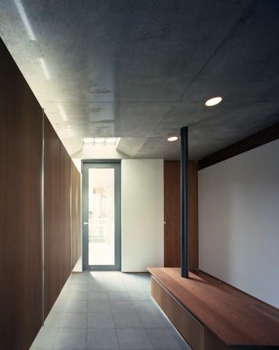 玄関 (【大通りに建つ家】  騒音振動からすこやかな生活を守る砦)