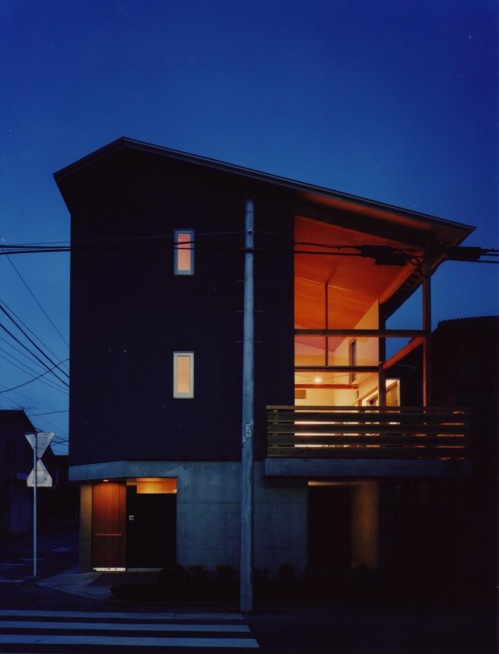 【川口の家】  柱と梁の立体格子がつくる巨大なワンルーム (外観(夜景))