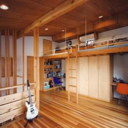 【川口の家】  柱と梁の立体格子がつくる巨大なワンルーム (子供部屋)