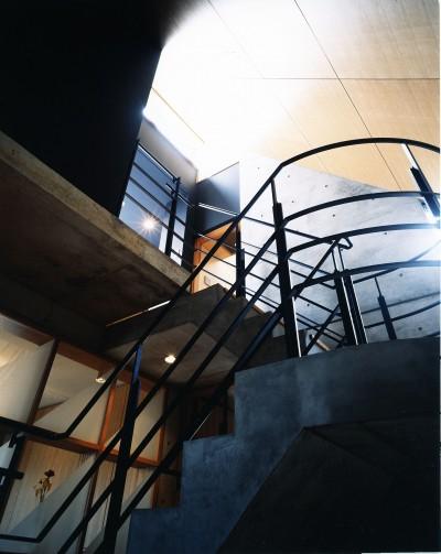 階段 (【T字路に建つ家】  外へと膨らみ内を包み込む曲面の壁)