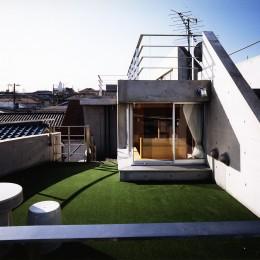 【T字路に建つ家】  外へと膨らみ内を包み込む曲面の壁 (屋上)