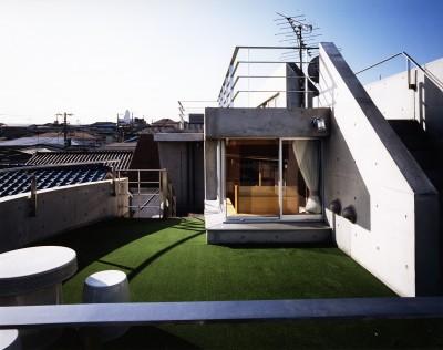 屋上 (【T字路に建つ家】  外へと膨らみ内を包み込む曲面の壁)