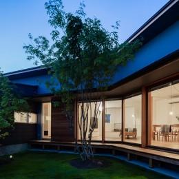 祖父江町の家/角地に建つ平屋の住まい (中庭)