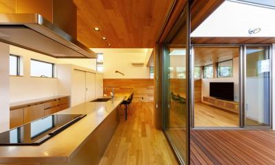haus-slit / 稜線に沿ったスリットで自然を感じる中庭住宅 (haus-slit キッチン&中庭)