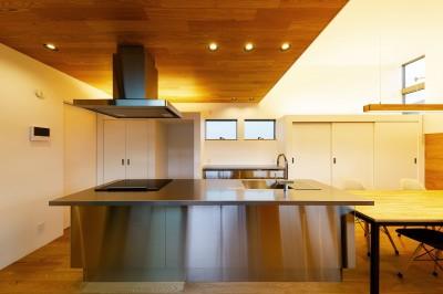 haus-slit キッチン (haus-slit / 稜線に沿ったスリットで自然を感じる中庭住宅)