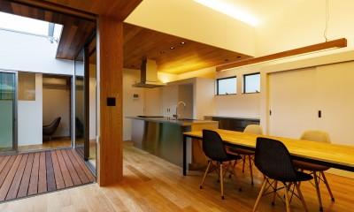 haus-slit / 稜線に沿ったスリットで自然を感じる中庭住宅 (haus-slit ダイニングキッチン)