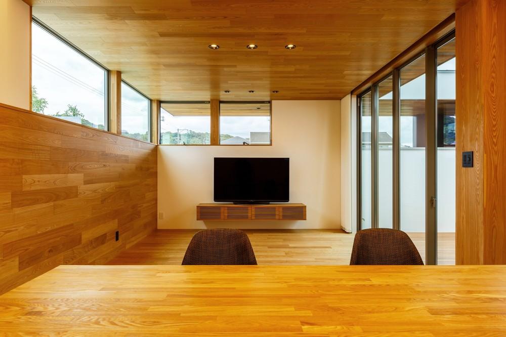 haus-slit / 稜線に沿ったスリットで自然を感じる中庭住宅 (haus-slit リビング)
