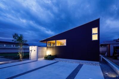 haus-slit 外観 (haus-slit / 稜線に沿ったスリットで自然を感じる中庭住宅)