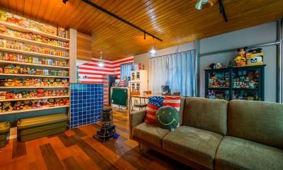 色で遊ぶ、趣味と暮らす家 (コレクションと過ごすリビング)