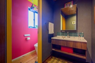 どこを切り取っても絶妙の色バランスの洗面とトイレ (色で遊ぶ、趣味と暮らす家)