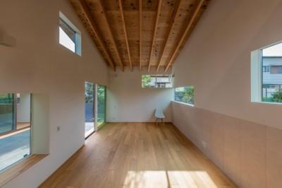 尾張旭の住宅 自然と呼応するモダンウッドハウス (リビングダイニング)