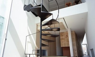 M HOUSE 狭小間口を活かした、道のような家 (階段)