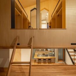 1・2・house 遊びゴコロいっぱいのボーダーレスハウス (2階LDK⇔2.5階勉強スペース⇔3階子ども室のつながり)