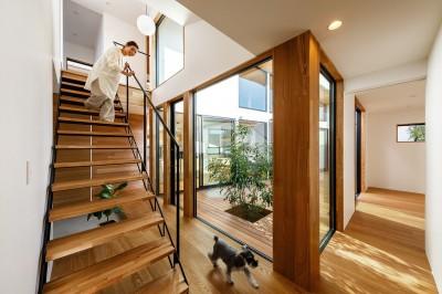 haus-cros 階段&中庭 (haus-cros / 十字フレームが印象付ける和洋折衷テイストの箱型中庭住宅)