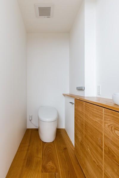 haus-cros トイレ (haus-cros / 十字フレームが印象付ける和洋折衷テイストの箱型中庭住宅)
